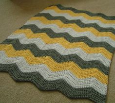 Baby Chevron Blanket Yellow Gray and White by kraftyladykreations, $32.00