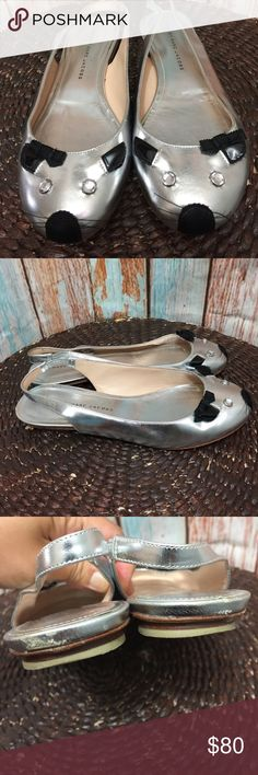 MARC BY MARC JACOBS Silver cat flat women size 37 MARC BY MARC JACOBS Silver cat flat sling back women size 37 inventory:z8 PHM Marc By Marc Jacobs Shoes Flats & Loafers