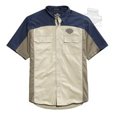 Harley-Davidson® | 96467-15VM | Harley-Davidson® Mens Yoke Patch B&S Colorblocked Blue Short Sleeve Woven Shirt