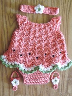 crochet watermelon sandal | Crocheted Watermelon Dress Set for Newborn Girl by TheWoodenNeedle