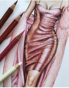A drawing that went completely wrong, but these pink sequins still deserve to be shared. 💖A drawing that went completely wrong, but these pink sequins still deserve to be shared. Dress Design Drawing, Dress Design Sketches, Fashion Design Sketchbook, Fashion Design Drawings, Fashion Sketches, Fashion Illustration Poses, Lingerie Illustration, Fashion Illustration Tutorial, Fashion Drawing Tutorial