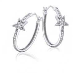 Sterling Silver Cubic Zirconia Star Oval Hoop Earrings