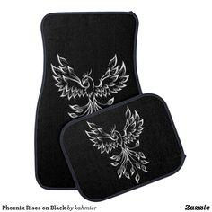 Phoenix Rises on Black Car Floor Mat