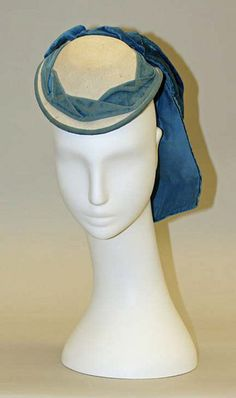 Promenade hat Date: Culture: French Medium: wool, silk Dimensions: Length: 8 in. Victorian Hats, Victorian Fashion, Historical Costume, Historical Clothing, Corsage, 1870s Fashion, Costume Hats, Costumes, Derby