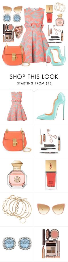 """1950's Style Today"" by andromeda-code ❤ liked on Polyvore featuring MSGM, Chloé, Tory Burch, Yves Saint Laurent, Dita, Charlotte Tilbury and LE VIAN"
