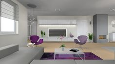 living room, purple, 3D vizualization, rendering, interior design, swan chair, bocci, fireplace