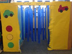 Make a car wash out of cardboard boxes for transportation storytimes. Bubbles for soap, streamers, a stop/go sign at the beginning.
