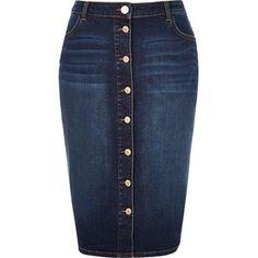 River Island RI Plus blue denim button-up pencil skirt