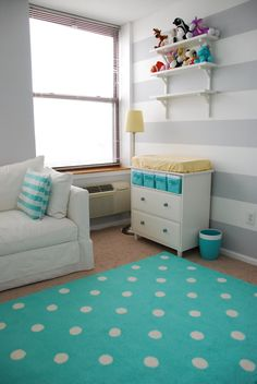 white and gray striped walls for the baby room for the future! I love the gray, yellow, and blue!