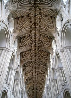 The nave ceiling, Norwich Cathedral, Norwich, Norfolk, England			                            												 			 						 							  										 		 ...