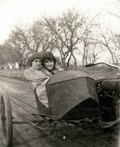 """vintage sidecars - 2 young ladies in a small sidecar sitting rather close. back of original photo says""""when you left me broken hearted"""""""