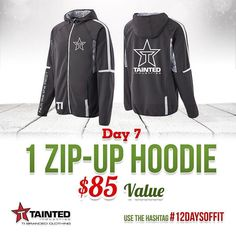 DAY 7 of 12 Days Of Giveaways is your chance to win a @taintedindustriesclothing Zip up Hoodie $85 Value!! Be sure to: go over to @taintedindustriesclothing page to enter  1.  Follow @muscleegg @sizzlefishfit @fitchick428 @5280meat @ensorings @nutsnmore @performancepin @royaltynutrition @taintedindustriesclothing @lennyandlarrys @kodiakcakes @melissasproduce @omgheebutter @myoatmeal 2.  Comment below tagging 3 friends and using #12DaysOfFit to spread the word! 3.  Dont forget that this will…