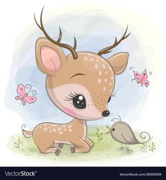 Cute Cartoon deer with bird on the meadow Illustration , Cartoon Sketches, Art Drawings Sketches, Cute Drawings, Deer Cartoon, Cute Cartoon, Cute Wallpaper Backgrounds, Cute Wallpapers, Cute Images, Cute Pictures