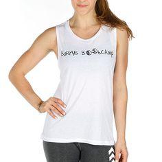 Women's J15 Muscle Tee w/ BB Dumbbell www.barrysbootcamp.com #fitness #fitnessapparel #workoutclothes
