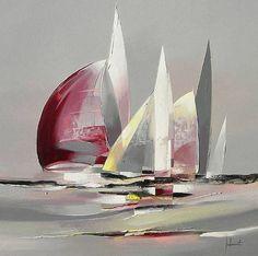 Sailboat Art, Sailboat Painting, Sailboats, Metal Flower Wall Art, Boat Drawing, Pastel Landscape, Seascape Paintings, Beach Art, Op Art