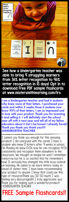 Opt in for Free Sample Flashcards from the Mister Smith Letter Recognition Program that will help you teach your children/students to identify their letters in a fun and effective way. Letter and association on the front and how to teach on the back. Kindergarten Special Education, Kindergarten Teachers, Letters For Kids, Letter To Parents, Teaching The Alphabet, Alphabet Activities, Letter To Teacher, How To Teach Kids, Literacy Skills