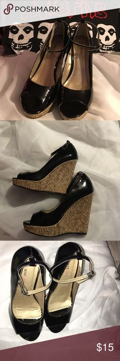 Just Fab Wedges, size 8 Just Fab black and beige wedges, size 8, at the most worn twice & as you can see in one pic the size stickers are still on them. ;) JustFab Shoes Wedges
