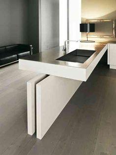 îlot de cuisine design et intérieur petit espace de design nordique en blanc