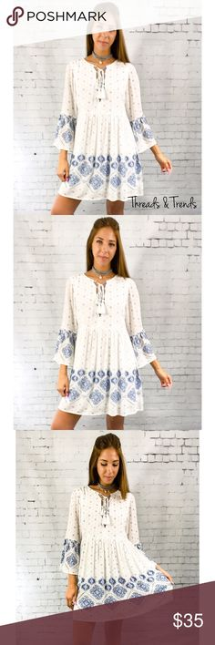 White Boho Baby Doll Dress Gorgeous white boho baby doll dress featuring a blue medallion print throughout the garment. Beautiful for spring. Double lined and isn't see  through at all. Very high end quality.  Measurements: Small  Bust 40 Length 34  Medium Bust 44 Length 35  Large  Bust 46 Length 36  Fabric content: rayon Dresses