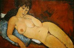 Nude on a Blue Cushion by Amedeo Modigliani  for more Amedeo Modigliani oil paintings please visit http://www.painting-in-oil.com/artworks-Modigliani-Amedeo.html