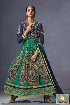 Get Bold look in this catchy green blue silk fancy anarkali dress 2016 for girls at reasonable rate. Shop for wedding reception, anniversary, mahendi, sangeet occasion salwar suits for ladies.  anarkalisalwarsuit, #bridalanarkalisuit, #partywearsalwarsuit,  #discountoffer, #anarkalidresses, #valentinedresses, #stylishanarkalisuit,   #embroideryanarkalisuit Visit Our New Product: http://www.pavitraa.in/store/embroidery-salwar-suit/ Any Query: Call Us:+91-7698234040