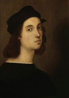 ラファエロ・サンツィオ《自画像》    第1章:画家への一歩  第2章:フィレンツェのラファエロ-レオナルド・ダ・ヴィンチ、ミケランジェロとの出会い  第3章:ローマのラファエロ-教皇をとりこにした美  第4章:ラファエロの後継者たち