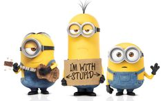 Minions 2015 (I'm With Stupid) Wallpaper http://beyondhdwallpapers.com/minions-2015-im-with-stupid-wallpaper/ #Minions #2015 #Wallpapers #HD #HighDefinition #Wallpaper #Movie #Movies