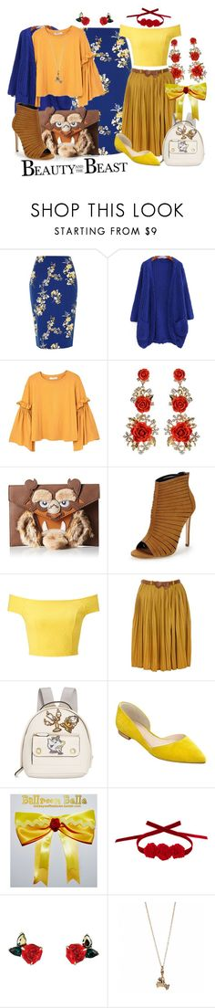 """Beauty and the Beast"" by princesschandler on Polyvore featuring River Island, MANGO, Amrita Singh, Miss Selfridge, Yumi, Danielle Nicole, Marc Fisher LTD, Vjera Vilicnik, disney and belle"