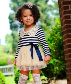 Fall Navy Striped Dress with Gold Accents - Cute! Cute Little Girls Outfits, Girls Summer Outfits, Little Girl Fashion, Little Girl Dresses, Summer Girls, Kids Outfits, Kids Fashion, Girls Dresses, Girls Lace Dress