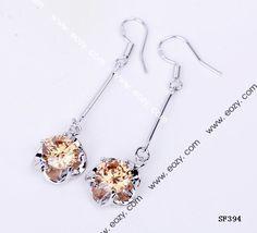 36x14mm 925 Sterling Silver Jewelry Orange Crystal Hook Dangle Earrings Eardrops