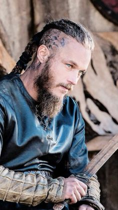 Ragnar, Vikings, sword, beard, tattoo, body art, history, wild, warrior, powerful face, intense eyes, addiction, obsession, portrait, photo