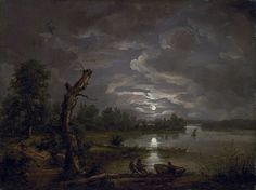 Johan Christian Dahl (1788–1857) Link back to Creator infobox template wikidata:Q164735 Title Norwegian (bokmål): Den Esrum sjøen i måneskinn Lake Esrom by Moonlight Date 1814