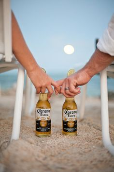 beach wedding pics - OMG! This is perfect, but lets get a craft beer or something that Tommy loves. @Michelle Flynn Rundle Freeman