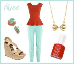 Mint jeans/pants outfit // orange-red peplum, nude wedges, bow necklace