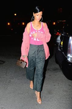 Rihanna Celebrates Her Return to Instagram with Quilted Party Pants – Vogue