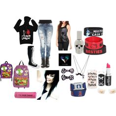 I like everything but the bows, lipstick, and bookbag. Otherwise, I like the outfit. (In case you haven't noticed already.., I'm not a scene kid!)