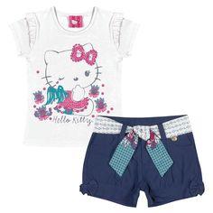 Conjuntinho fofo Hello Kitty. Blusa e short, fofura demais ! Tem no site Repipiu. www.repipiu.com.br