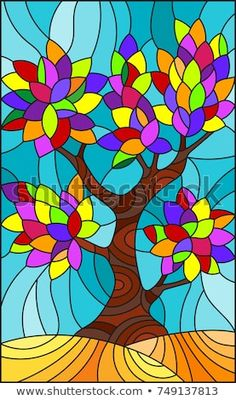 Illustration in stained glass style with with multicolored leaves on sky background Glass Painting Patterns, Pottery Painting Designs, Stained Glass Patterns, Stained Glass Art, Glas Art, Handprint Art, Illustration, Arte Pop, Tree Art
