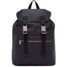 A.P.C. Navy Canvas Jamie Backpack ($210) ❤ liked on Polyvore featuring men's fashion, men's bags, men's backpacks and mens canvas backpack