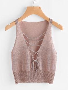 Shop Plunging Lace Up Knit Tank Top online. SheIn offers Plunging Lace Up Knit Tank Top & more to fit your fashionable needs. Knitwear Fashion, Knit Fashion, Fashion Outfits, Crochet Crop Top, Knitted Tank Top, Cute Casual Outfits, Handmade Clothes, Clothes For Women, Tank Tops