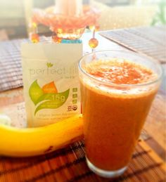 CarrotCake Shake: Fresh carrot juice, frozen banana, flax seed,