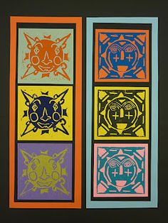 The Calvert Canvas: Adventures in Middle School Art!: Aztec Sun Stone Prints