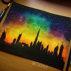 New piece Sunset in Dubai - This work took me and is done in and Art Grip on paper. Oil Pastel Drawings, Oil Pastel Art, Art Drawings Sketches, Cool Drawings, Oil Pastel Paintings, Galaxy Art, Painting & Drawing, Watercolor Art, Art Projects