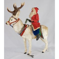 1930s German FAO Schwartz Clockwork Reindeer with Santa MINT