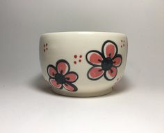 Hand Painted Porcelain Bowl with Pink Plum Flower - Ceramic Cereal Bowl - Pink Flowers - Cereal Bowl - Porcelain Bowl - Mother's day - Gift