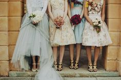 wedding ideas beautiful bridesmaids dresses - patterned dresses with overlay 50's Mad me style