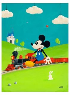 """Disney Painting """"Mickey's Toy Train"""" by Will Gay"""