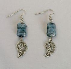 Blue Glass Earrings with Tibetan Silver Leaves by KristasJewellery, $10.00