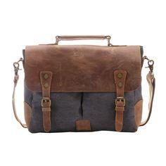 Men Canvas Leather Vintage Laptop Shoulder Briefcase Handbag Beautiful Worn Bag  #teemzone #SuitGarmentBag