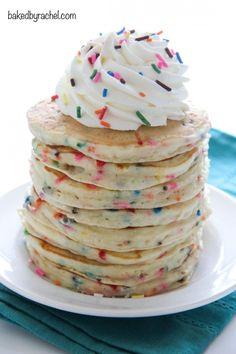Fluffy homemade funfetti cake batter pancakes! Recipe from @bakedbyrachel